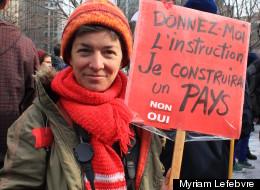 Marie-France, lors de la manifestation post-sommet, le 26 février 2013. (Crédit photo: Myriam Lefebvre)