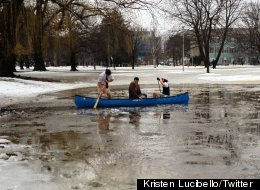 McMaster University stdeunts go for a canoe on 'Lake McMaster'.