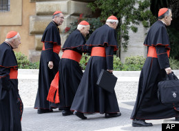 From left, U.S. cardinals Theodore McCarrick, Roger Mahony, Francis George, Donald Wuerl and Daniel Di Nardo arrive for a meeting, at the Vatican, Tuesday, March 5, 2013. The Vatican announced Friday that the conclave to pick the next pope will began Tuesday, March 12 at the Sistine Chapel.