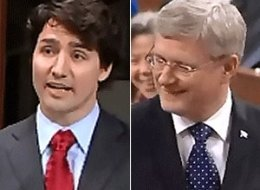 Justin Trudeau and Stephen Harper exchange jabs during Question Period. (Parliament of Canada)