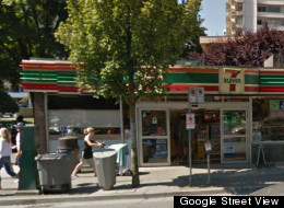 A woman was attacked at the 7-Eleven store on Denman Street in Vancouver. (Google Street View)