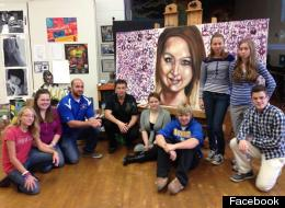 Artist and teacher Michael Bell, centre in black shirt, painted a portrait of Amanda Todd, with help from high school students. (Facebook)