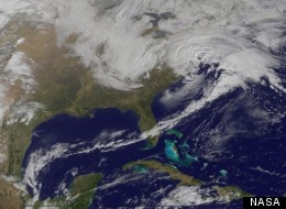 This image from NOAA's GOES-13 geostationary weather satellite shows a winter storm hitting the Mid-Atlantic U.S. on March 6, 2013. (Photo: NASA)