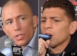 Nick Diaz, right, has accused UFC welterweight champion Georges St-Pierre of being on steroids. (CP)