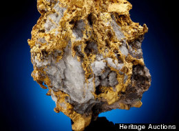 The tyrannosaur of the minerals, this gold nugget in quartz weighs more than 70 ounces (2 kilograms).