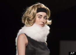 Toronto Fashion Week: Pink Tartan showed off models with blond wigs
