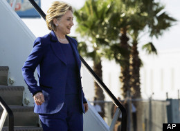 Hillary Clinton arrives at the airport in Sarasota, Fla., on Jan. 27, 2008, to attend a fundraising event. (AP Photo/Elise Amendola, File)