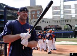 Houston Texans football player J.J. Watt joins the Houston Astros for batting practice on, March 29, 2013, in Houston. (AP Photo/Pat Sullivan)