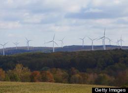 Wind farm creates green wind energy electricity in New York.