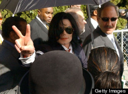 Michael Jackson leaves Santa Maria Court House after pleading innocent on child molestation charges.