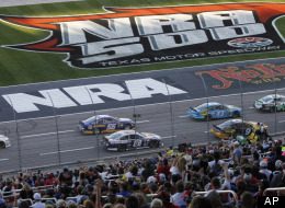 Drivers take run the main straight during the NASCAR Sprint Cup series NRA 500 auto race at Texas Motor Speedway, Saturday, April 13, 2013, in Fort Worth, Texas. (AP Photo/Tim Sharp)