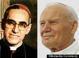 L to R: Archbishop Oscar Romero and Pope John Paul II