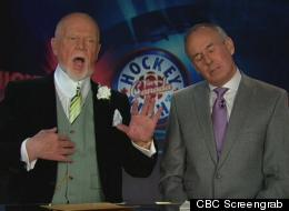 Don Cherry said the men's locker-room is no place for a woman, and this is how Ron MacLean reacted. (CBC Screengrab)