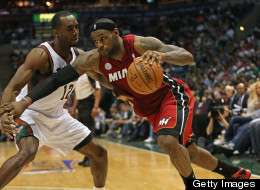 LeBron James #6 of the Miami Heat drives against Luc Richard Mbah a Moute #12 of the Milwaukee Bucks in Game Four of the Eastern Conference Quarterfinals during the 2013 NBA Playoffs at the Bradley Center on April 28, 2013 in Milwaukee, Wisconsin.