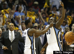 Zach Randolph #50 of the Memphis Grizzlies gestures toward the Los Angeles Clippers bench after being ejected from Game Six of the Western Conference Quarterfinals of the 2013 NBA Playoffs at FedExForum on May 3, 2013 in Memphis, Tennessee.