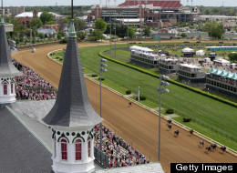 The field of horses runs up the front stretch on their way toward the finish during Race #4 on Kentucky Oaks Day at Churchill Downs on May 3, 2013 in Louisville, Kentucky.