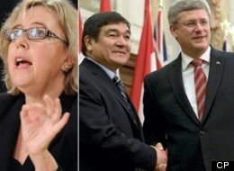 Elizabeth May believes Stephen Harper may have violated the Conflict of Interest Act and tried to give Peter Penashue an unfair advantage in an upcoming byelection. (CP)