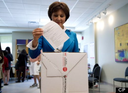 B.C. Liberal leader Christy Clark casts her ballot during advanced voting in Burnaby, B.C. on May 8. (THE CANADIAN PRESS/Jonathan Hayward)