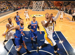Paul George #24 of the Indiana Pacers shoots a layup against the New York Knicks in Game Four of the Eastern Conference Semi-finals during the NBA Playoffs on May 14, 2013 at Bankers Life Fieldhouse in Indianapolis, Indiana.