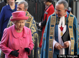 Queen Elizabeth II is greeted by the the Rev. John Hall as she arrives at Westminster Abbey to attend the annual Commonwealth Day Observance Service on March 12, 2012.