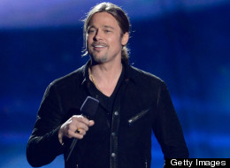 Brad Pitt speaks onstage during the 2013 MTV Movie Awards on April 14, 2013, in Culver City, Calif. (Photo by Jeff Kravitz/FilmMagic)