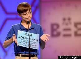 Jonathan Caldwell of Hendersonville, Tennessee, reacts after misspelling a word in the semifinals of the 2013 Scripps National Spelling Bee in National Harbor, Maryland, Thursday, May 30, 2013.