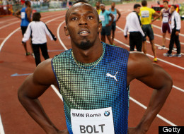 Jamaica's champion Usain Bolt reacts after losing the 100m men's race at the IAAF Golden Gala at Stadio Olimpico on June 6, 2013 in Rome, Italy. (Photo by Paolo Bruno/Getty Images)