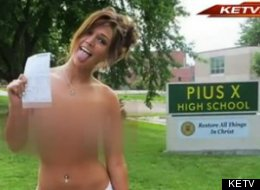 Valerie Dodds, aka Val Midwest, received a ticket for public nudity and trespassing at her former high school.