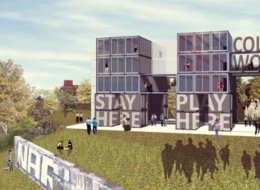 This shipping crate pop-up is the prototype for a larger hotel built out of the containers planned for 2014 in the Eastern Market neighborhood of Detroit. (Design and Images copyright of the Architects - Koop architecture + media)