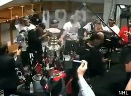 The Chicago Blackhawks celebrate winning the Stanley Cup.