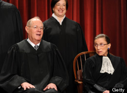 Supreme Court Justices Anthony Kennedy, Elena Kagan and Ruth Bader Ginsburg voted with the majority in the Defense of Marriage Act case. (Photo by Bill O'Leary/The Washington Post via Getty Images)