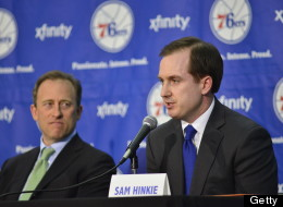 Managing Owner Josh Harris of the Philadelphia 76ers introduces Sam Hinkie as President of Basketball Operations and General Manager during a press conference on May 14, 2011 in Philadelphia, Pennsylvania. (Photo by David Dow/NBAE via Getty Images)