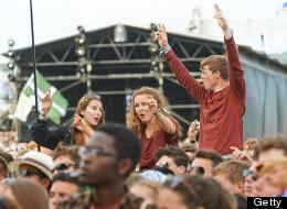 A woman gave birth at the Glastonbury Festival.