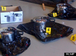 Pictures displayed by the RCMP showed several explosive devices built from what appeared to be pressure cookers. They said the plot to use the devices at the B.C. legislature in Victoria was foiled by police. (RCMP)