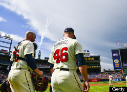 Craig Kimbrel #46 and Brian McCann #16 of the Atlanta Braves after the game against the Washington Nationals at Turner Field in Atlanta on June 2, 2013. The Braves won 6-3. (Photo by Pouya Dianat/Atlanta Braves/Getty Images)