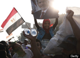 Supporters of deposed Egyptian President Mohammed Morsi gather at the Rabaa al Adweya Mosque.