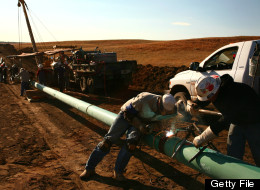 A 10-inch gas pipeline is constrcuted outside of Watford City, North Dakota, U.S., on Wednesday, Oct. 12, 2011. (Photo: Matthew Staver/Bloomberg via Getty Images)