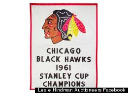The vintage Blackhawks banner that went for $37,500 in auction Tuesday night.