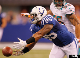 Weslye Saunders #85 of the Indianapolis Colts can't come up with a third quarter catch in front of Koa Misi #55 of the Miami Dolphins at Lucas Oil Stadium on November 4, 2012 in Indianapolis, Indiana. Indianapolis won the game 23-20. (Photo by Gregory Shamus/Getty Images)