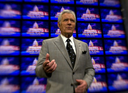 Alex Trebek poses on the set of his game show Jeopardy on April 21, 2012.  (Photo by Tracy A. Woodward/The Washington Post via Getty Images)