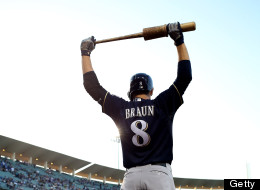 Ryan Braun of the Milwaukee Brewers stretches as he prepares to bat in the first inning against the Los Angeles Dodgers at Dodger Stadium on April 26, 2013 in Los Angeles, California.