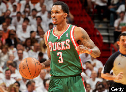 Brandon Jennings #3 of the Milwaukee Bucks advances the ball against the Miami Heat in Game Two of the Eastern Conference Quarterfinals during the 2013 NBA Playoffs on April 23, 2013 at American Airlines Arena in Miami, Florida. (Photo by I