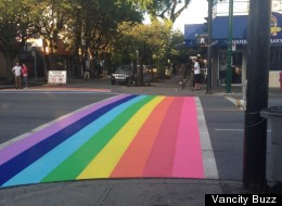 To celebrate the launch of Vancouver Pride Week, the City of Vancouver gave a West End intersection a colourful makeover, Monday. (<a href=