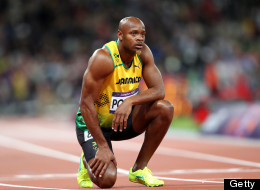 Asafa Powell of Jamaica looks to the scoreboard after competing  the Men's 100m Final on Day 9 of the London 2012 Olympic Games at the Olympic Stadium on August 5, 2012 in London, England.  (Photo by Michael Steele/Getty Images)