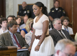 Shayanna Jenkins, girlfriend of Aaron Hernandez entered the court room in Attleboro District Court in Attleboro, Mass. on Wednesday, July 24, 2013.