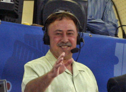 NESN Red Sox color commentator Jerry Remy in the booth with Don Orsillo and Dennis Eckersley during the top of the second inning of tonight's Red Sox game against the Detroit Tigers at Fenway Park on August 12.