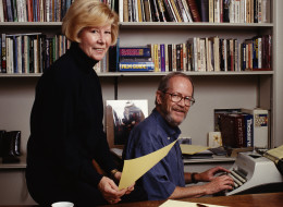 American novelist Elmore Leonard with his wife Christine in Detroit, Michigan, circa 1992. On Aug. 20, 2013, Leonard died of complications after a stroke at his home near Detroit. (Photo by Michael Brennan/Getty Images)