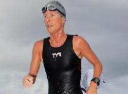 Sindy Hooper finished the Ironman triathlon in Whistler on Sunday despite undergoing cancer treatment. (Pancreatic Cancer Canada)