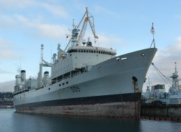 The Canadian Navy's Operational Support Ship HMCS Protecteur sits at dock at CFB Esquimalt in Victoria, BC on Vancouver Island. (CP PHOTO/Don Denton)