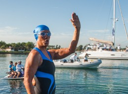 US swimmer Diana Nyad waves before attempting to swim in a three-day non-stop journey from Havana to Florida at the Ernest Hemingway Nautical Club, in Havana on August 31, 2013. AFP PHOTO/YAMIL LAGE        (Photo credit should read YAMIL LAGE/AFP/Getty Images)